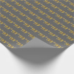 [ Thumbnail: Gray, Faux Gold 99th (Ninety-Ninth) Event Wrapping Paper ]