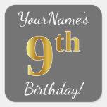 [ Thumbnail: Gray, Faux Gold 9th Birthday + Custom Name Sticker ]
