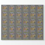 "[ Thumbnail: Gray, Faux Gold ""Happy 10th Birthday"" Wrapping Paper ]"