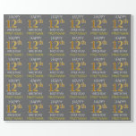 "[ Thumbnail: Gray, Faux Gold ""Happy 12th Birthday"" Wrapping Paper ]"