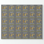 "[ Thumbnail: Gray, Faux Gold ""Happy 14th Birthday"" Wrapping Paper ]"