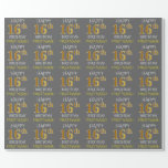 "[ Thumbnail: Gray, Faux Gold ""Happy 16th Birthday"" Wrapping Paper ]"