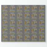 "[ Thumbnail: Gray, Faux Gold ""Happy 17th Birthday"" Wrapping Paper ]"