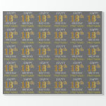 "[ Thumbnail: Gray, Faux Gold ""Happy 18th Birthday"" Wrapping Paper ]"