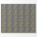 "[ Thumbnail: Gray, Faux Gold ""Happy 19th Birthday"" Wrapping Paper ]"