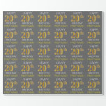 "[ Thumbnail: Gray, Faux Gold ""Happy 20th Birthday"" Wrapping Paper ]"