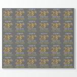 "[ Thumbnail: Gray, Faux Gold ""Happy 28th Birthday"" Wrapping Paper ]"