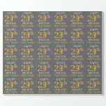 "[ Thumbnail: Gray, Faux Gold ""Happy 29th Birthday"" Wrapping Paper ]"