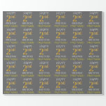 "[ Thumbnail: Gray, Faux Gold ""Happy 2nd Birthday"" Wrapping Paper ]"