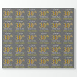 "[ Thumbnail: Gray, Faux Gold ""Happy 30th Birthday"" Wrapping Paper ]"