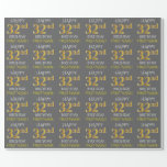 "[ Thumbnail: Gray, Faux Gold ""Happy 32nd Birthday"" Wrapping Paper ]"