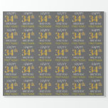 "[ Thumbnail: Gray, Faux Gold ""Happy 34th Birthday"" Wrapping Paper ]"