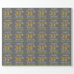"[ Thumbnail: Gray, Faux Gold ""Happy 36th Birthday"" Wrapping Paper ]"
