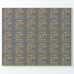 "[ Thumbnail: Gray, Faux Gold ""Happy 37th Birthday"" Wrapping Paper ]"