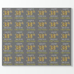 "[ Thumbnail: Gray, Faux Gold ""Happy 38th Birthday"" Wrapping Paper ]"