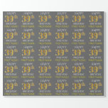 "[ Thumbnail: Gray, Faux Gold ""Happy 39th Birthday"" Wrapping Paper ]"
