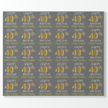 "[ Thumbnail: Gray, Faux Gold ""Happy 40th Birthday"" Wrapping Paper ]"