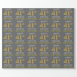 "[ Thumbnail: Gray, Faux Gold ""Happy 41st Birthday"" Wrapping Paper ]"