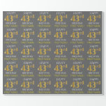 "[ Thumbnail: Gray, Faux Gold ""Happy 43rd Birthday"" Wrapping Paper ]"