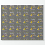 "[ Thumbnail: Gray, Faux Gold ""Happy 47th Birthday"" Wrapping Paper ]"