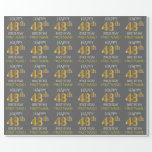 "[ Thumbnail: Gray, Faux Gold ""Happy 48th Birthday"" Wrapping Paper ]"