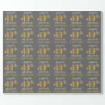 "[ Thumbnail: Gray, Faux Gold ""Happy 49th Birthday"" Wrapping Paper ]"
