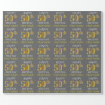 "[ Thumbnail: Gray, Faux Gold ""Happy 50th Birthday"" Wrapping Paper ]"