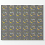 "[ Thumbnail: Gray, Faux Gold ""Happy 57th Birthday"" Wrapping Paper ]"