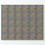 "[ Thumbnail: Gray, Faux Gold ""Happy 58th Birthday"" Wrapping Paper ]"