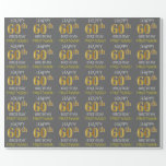 "[ Thumbnail: Gray, Faux Gold ""Happy 60th Birthday"" Wrapping Paper ]"