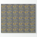 "[ Thumbnail: Gray, Faux Gold ""Happy 63rd Birthday"" Wrapping Paper ]"