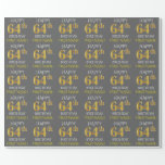 "[ Thumbnail: Gray, Faux Gold ""Happy 64th Birthday"" Wrapping Paper ]"