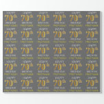 "[ Thumbnail: Gray, Faux Gold ""Happy 70th Birthday"" Wrapping Paper ]"