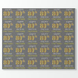 "[ Thumbnail: Gray, Faux Gold ""Happy 80th Birthday"" Wrapping Paper ]"