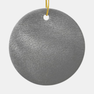 Gray (Faux) Leather Look Ceramic Ornament