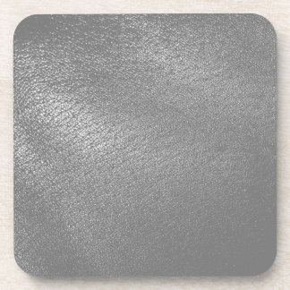 Gray (Faux) Leather Look Drink Coaster