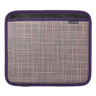 Gray Faux Linen canvas burlap checker iPad Sleeve