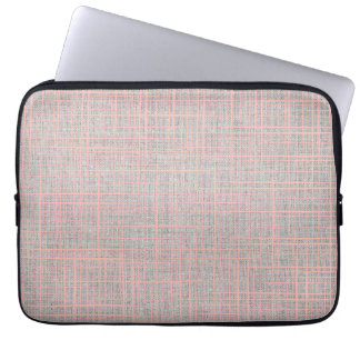 Gray Faux Linen canvas checkers Laptop Sleeve