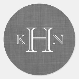 Gray Faux Linen Custom Monogram Round Sticker