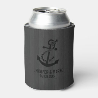 Gray Faux Wood Stripes Nautical Anchor Can Cooler