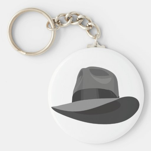 Gray Fedora wide ribbon Key Chain