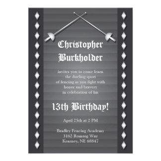 Gray Fencing Birthday Party Invitation
