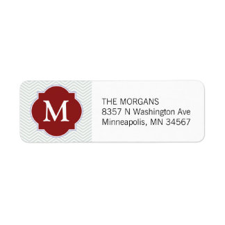 Gray & Firebrick 4 Modern Chevron Custom Monogram Return Address Label