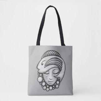 Gray Fish and Mermaid Art Tote Bag