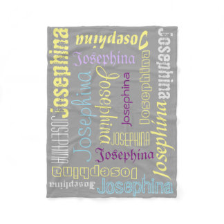 Gray Fleece Blanket Name Collage Lavender Yellow