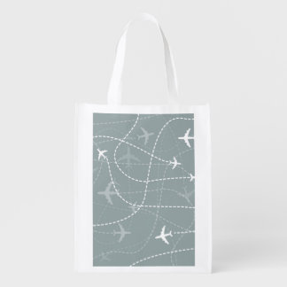 Gray Flight Path Pattern Reusable Grocery Bag