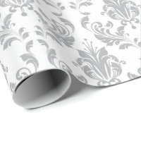 Gray Floral Damask Delicate Royal Bridal Wedding Wrapping Paper