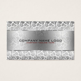 Gray Floral Damasks & Metallic Silver On White Business Card
