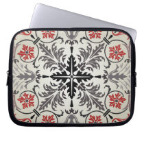 gray floral ornate pattern laptop sleeve