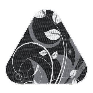 Gray Floral Pattern on Black Bluetooth Speaker